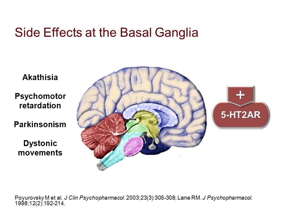 Side Effects at the Basal Ganglia Poyurovsky M et al. J Clin Psychopharmacol. 2003;23(3):305-308; Lane RM. J Psychopharmacol. 1998;12(2):192-214. 5-HT