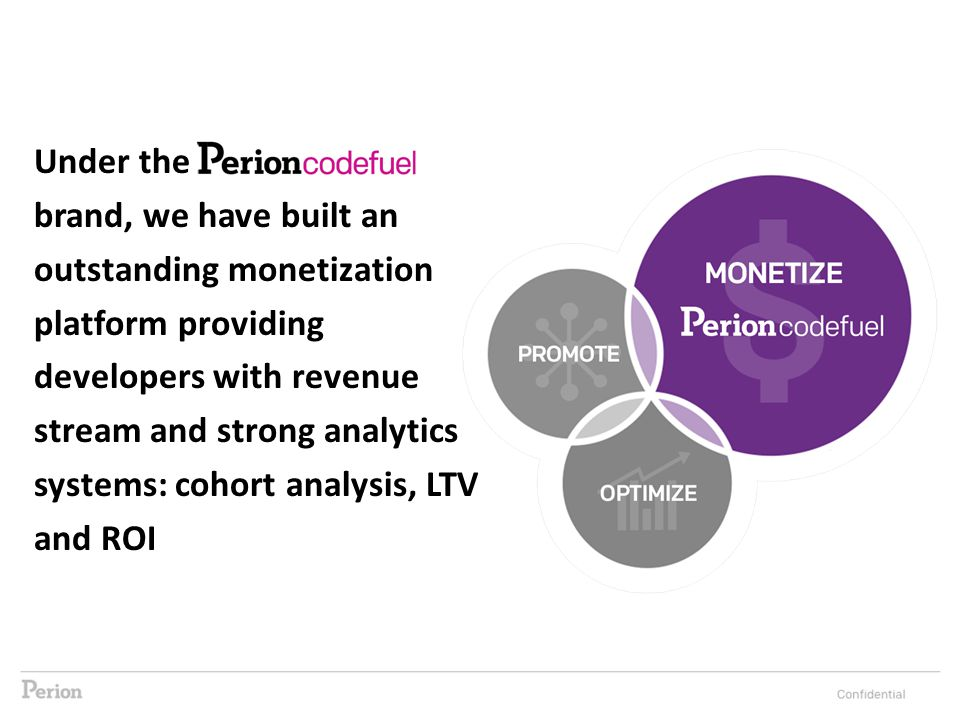 Under the brand, we have built an outstanding monetization platform providing developers with revenue stream and strong analytics systems: cohort analysis, LTV and ROI