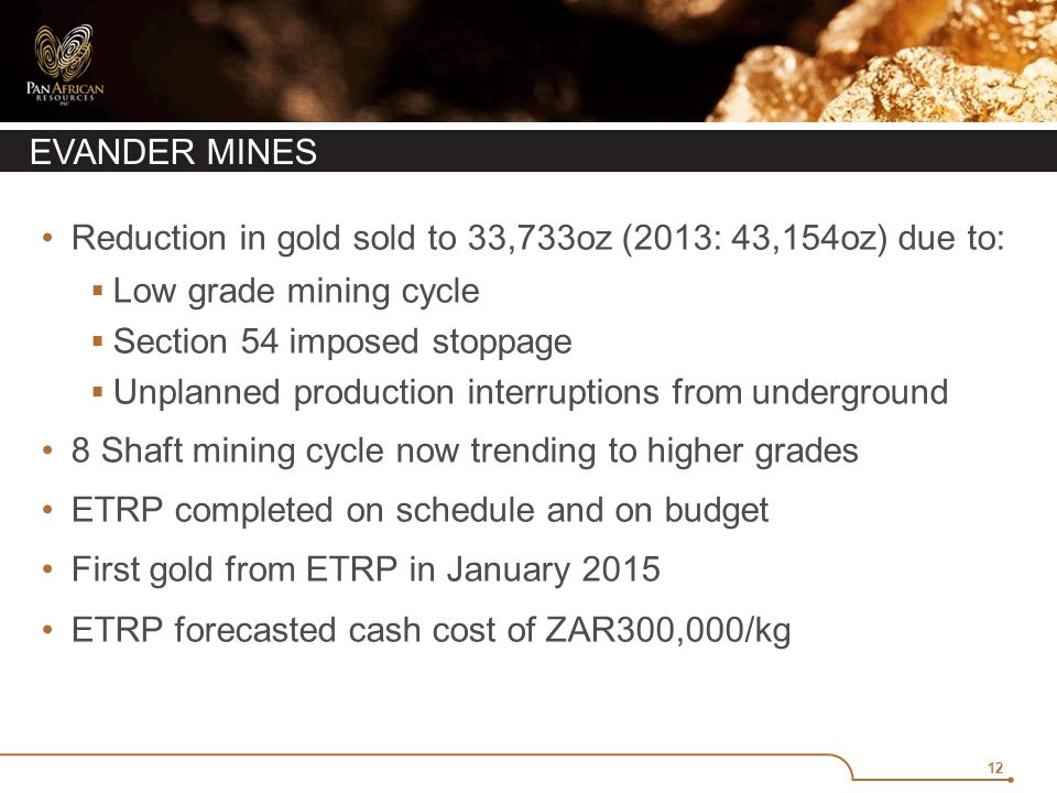12 EVANDER MINES Reduction in gold sold to 33,733oz (2013: 43,154oz) due to:  Low grade mining cycle  Section 54 imposed stoppage  Unplanned production interruptions from underground 8 Shaft mining cycle now trending to higher grades ETRP completed on schedule and on budget First gold from ETRP in January 2015 ETRP forecasted cash cost of ZAR300,000/kg
