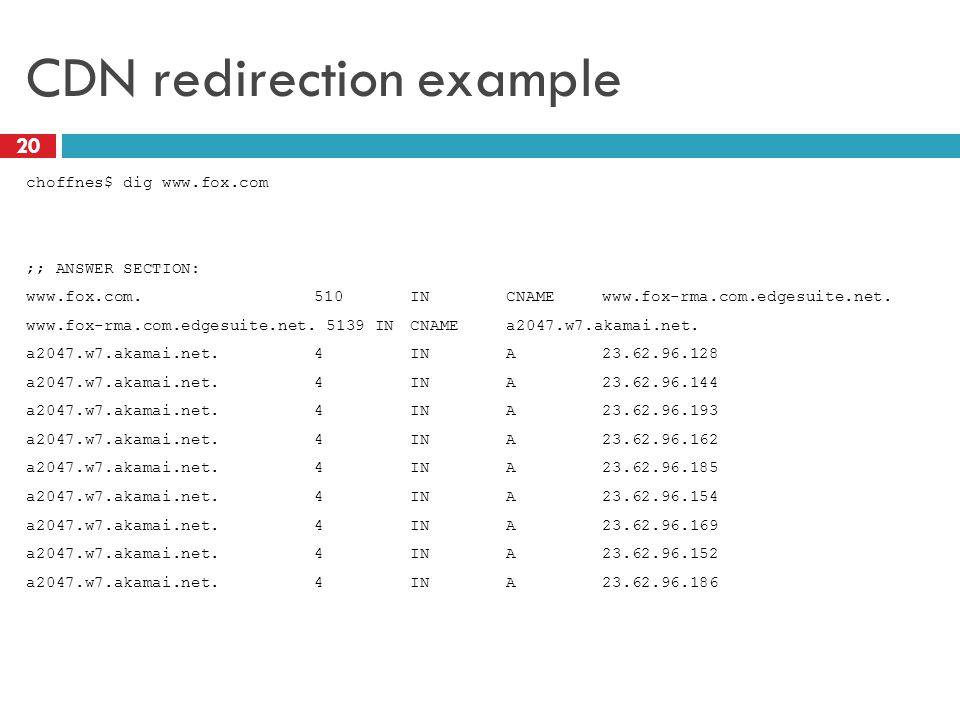 CDN redirection example 20 choffnes$ dig www.fox.com ;; ANSWER SECTION: www.fox.com.510INCNAMEwww.fox-rma.com.edgesuite.net.