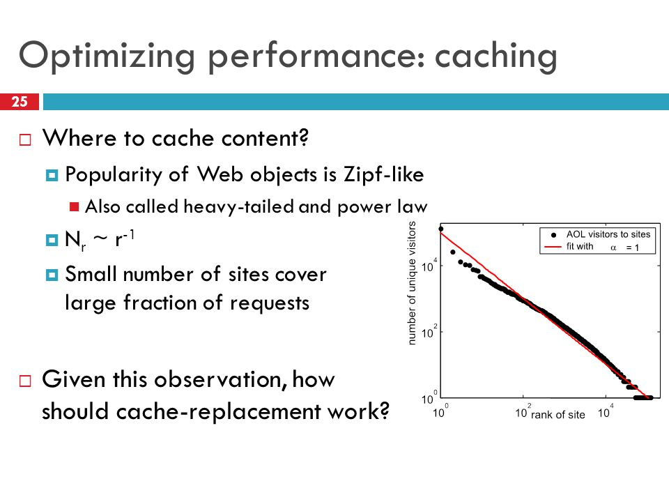 Optimizing performance: caching 25  Where to cache content.