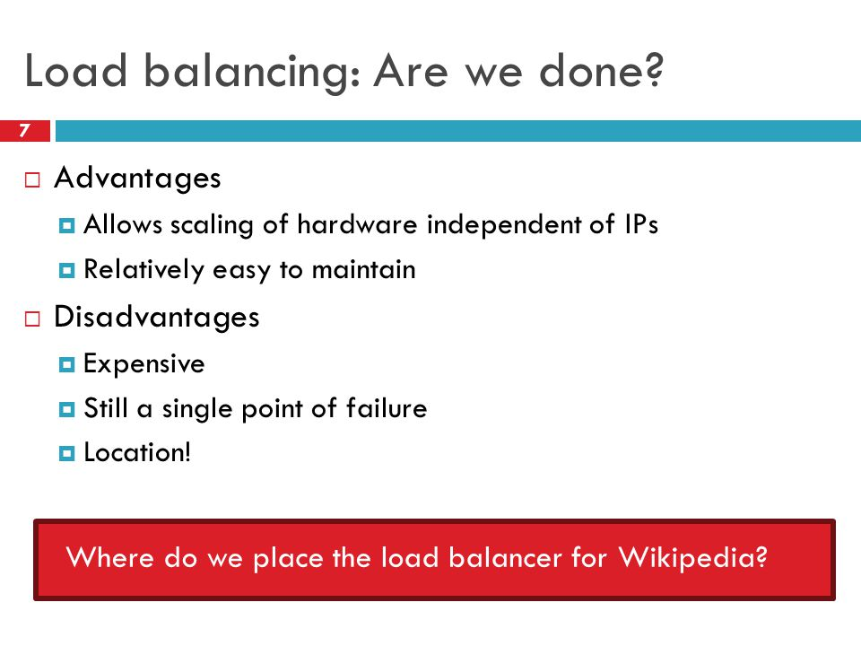 Load balancing: Are we done.