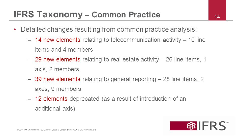 IFRS Taxonomy – Common Practice 14 © 2014 IFRS Foundation.