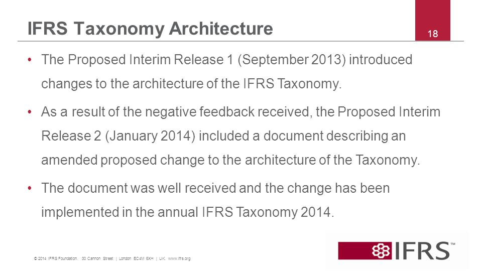 IFRS Taxonomy Architecture 18 © 2014 IFRS Foundation.