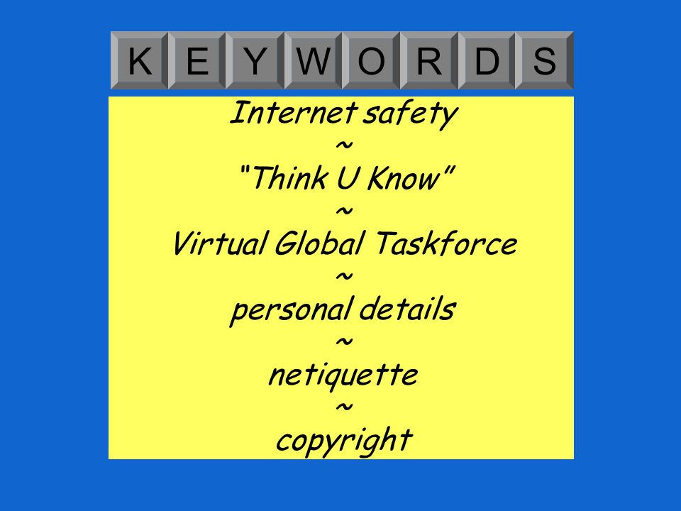 Learning Objective: Learning Outcomes: Understand how to keep yourself safe online and be a responsible Internet user.