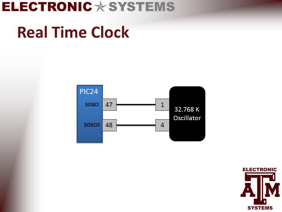 ELECTRONIC SYSTEMS Real Time Clock 47 484 1 32.768 K Oscillator SOSCI SOSCO PIC24