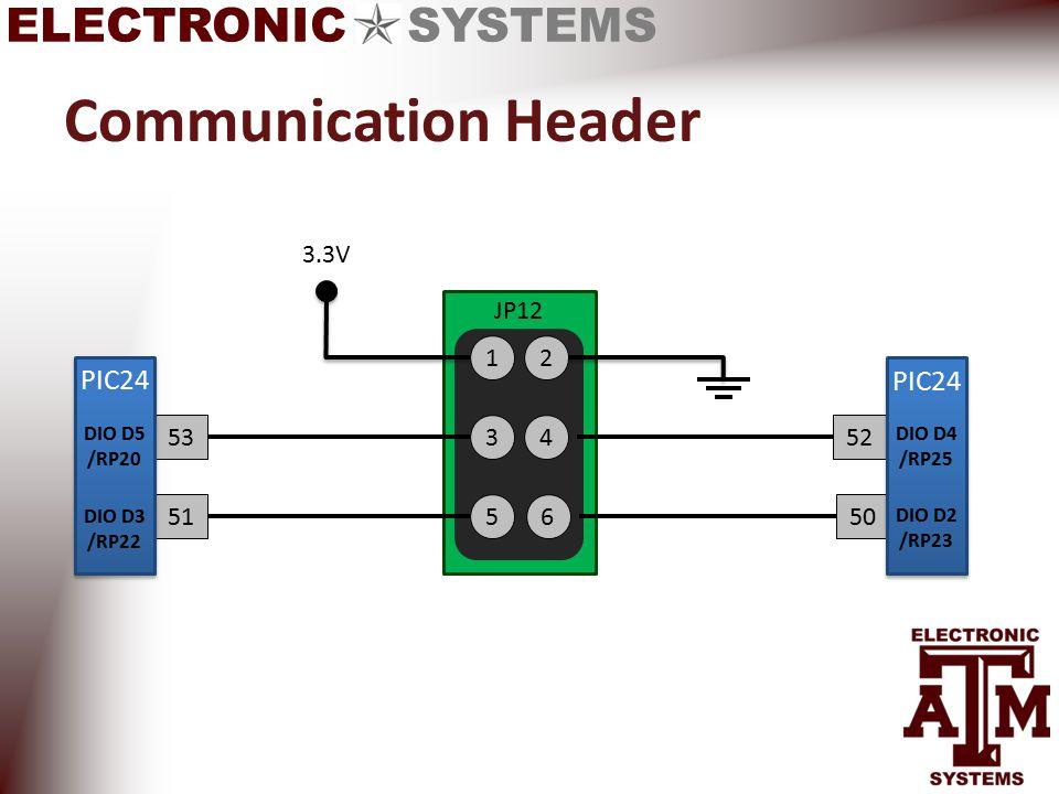 ELECTRONIC SYSTEMS Communication Header 1 3 5 JP12 2 4 6 3.3V 53 51 DIO D5 /RP20 PIC24 DIO D3 /RP22 52 50 PIC24 DIO D4 /RP25 DIO D2 /RP23