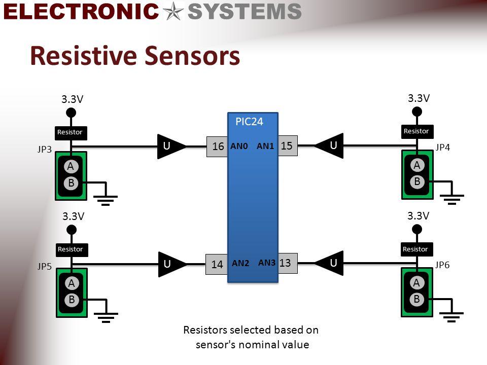 ELECTRONIC SYSTEMS Resistive Sensors JP5 3.3V A B Resist or 16 JP3 3.3V A B Resist or 13 15 JP4 3.3V A B Resist or 14 U JP6 3.3V A B Resist or U PIC24 AN0 AN1 AN3 AN2 U U Resistors selected based on sensor s nominal value