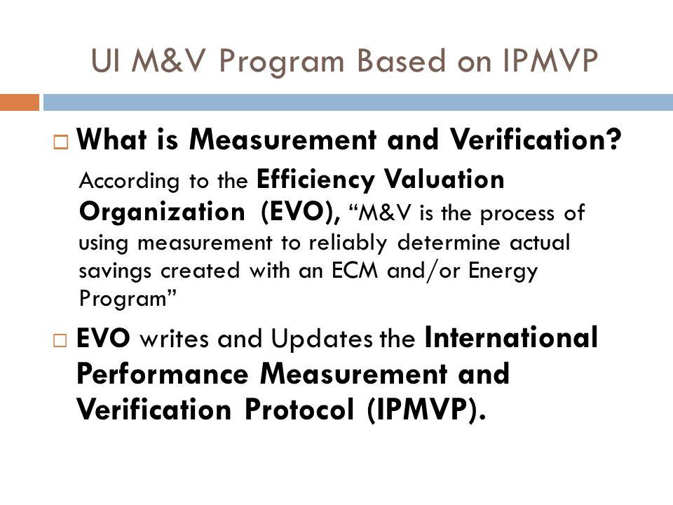 UI M&V Program Based on IPMVP  What is Measurement and Verification.