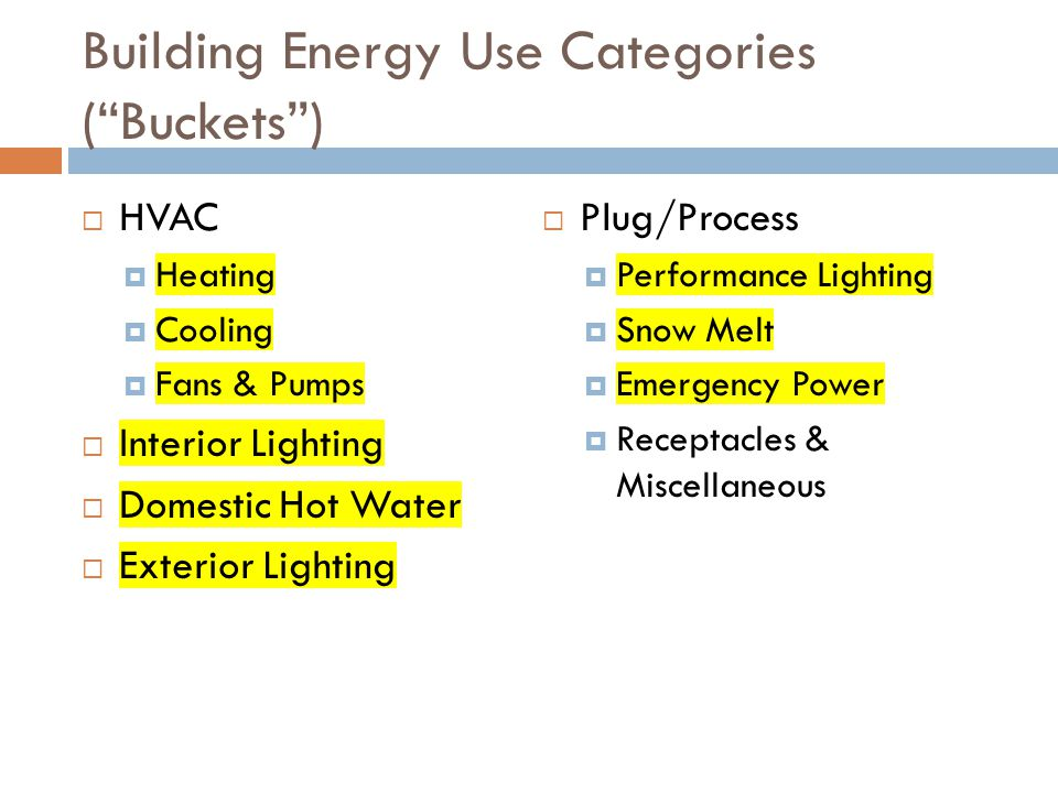 Building Energy Use Categories ( Buckets )  HVAC  Heating  Cooling  Fans & Pumps  Interior Lighting  Domestic Hot Water  Exterior Lighting  Plug/Process  Performance Lighting  Snow Melt  Emergency Power  Receptacles & Miscellaneous