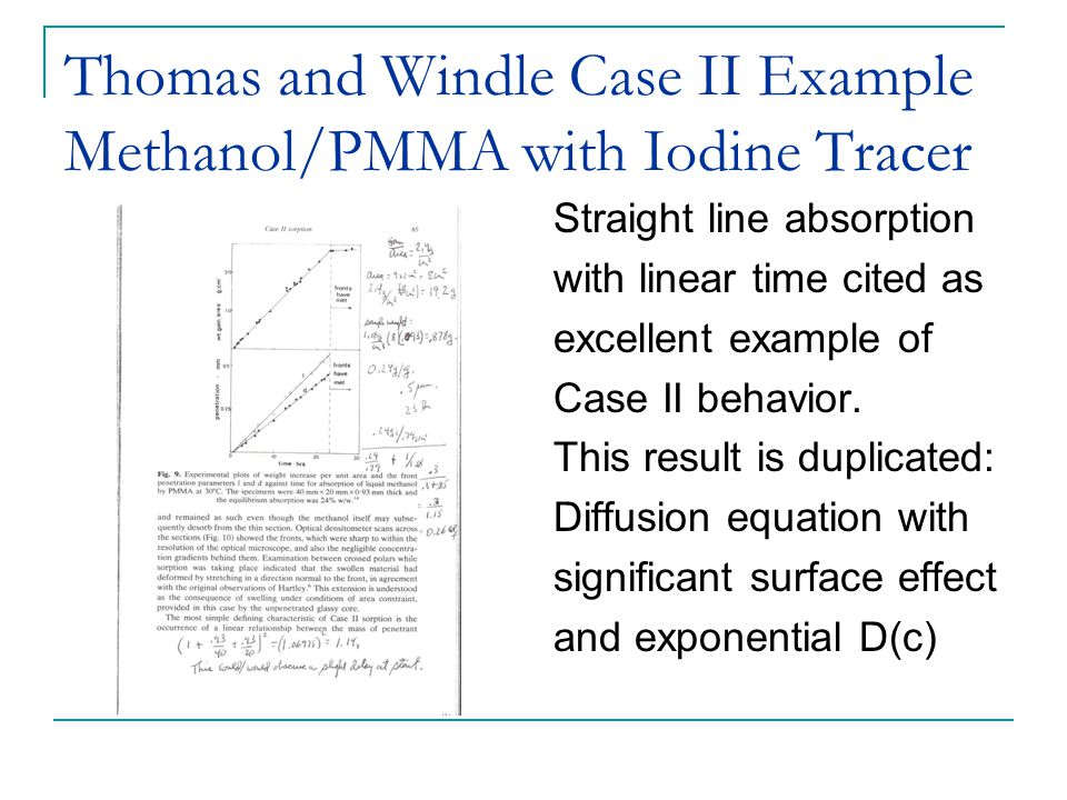 Thomas and Windle Case II Example Methanol/PMMA with Iodine Tracer Straight line absorption with linear time cited as excellent example of Case II behavior.