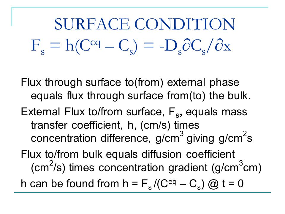 SURFACE CONDITION F s = h(C eq – C s ) = -D s  C s /  x Flux through surface to(from) external phase equals flux through surface from(to) the bulk.