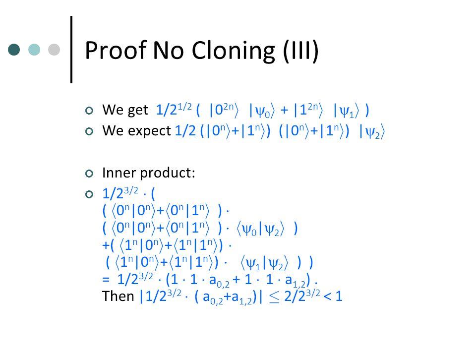 Proof No Cloning (III) We get 1/2 1/2 ( |0 2n i  |  0 i + |1 2n i  |  1 i ) We expect 1/2 (|0 n i +|1 n i )  (|0 n i +|1 n i )  |  2 i Inner product: 1/2 3/2 ¢ ( ( h 0 n |0 n i + h 0 n |1 n i ) ¢ ( h 0 n |0 n i + h 0 n |1 n i ) ¢ h  0 |  2 i ) +( h 1 n |0 n i + h 1 n |1 n i ) ¢ ( h 1 n |0 n i + h 1 n |1 n i ) ¢ h  1 |  2 i ) ) = 1/2 3/2 ¢ (1 ¢ 1 ¢ a 0,2 + 1 ¢ 1 ¢ a 1,2 ).