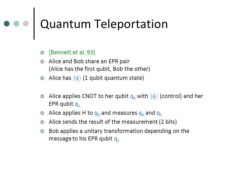 Quantum Teleportation [Bennett et al.