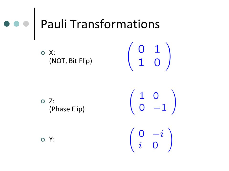 Pauli Transformations X: (NOT, Bit Flip) Z: (Phase Flip) Y: