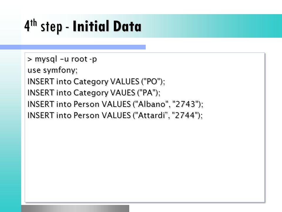 4 th step - Initial Data > mysql –u root -p use symfony; INSERT into Category VALUES ( PO ); INSERT into Category VAUES ( PA ); INSERT into Person VALUES ( Albano , 2743 ); INSERT into Person VALUES ( Attardi , 2744 ); > mysql –u root -p use symfony; INSERT into Category VALUES ( PO ); INSERT into Category VAUES ( PA ); INSERT into Person VALUES ( Albano , 2743 ); INSERT into Person VALUES ( Attardi , 2744 );