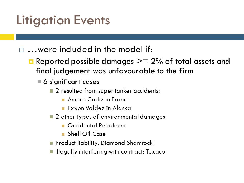 Litigation Events  …were included in the model if:  Reported possible damages >= 2% of total assets and final judgement was unfavourable to the firm