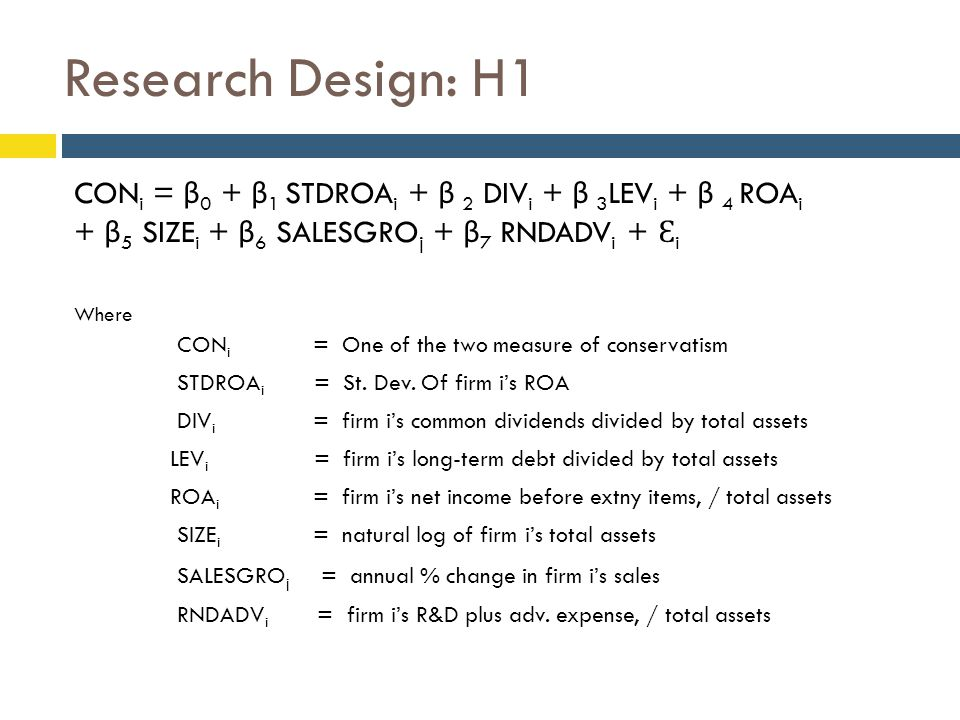 Research Design: H1 CON i = β 0 + β 1 STDROA i + β 2 DIV i + β 3 LEV i + β 4 ROA i + β 5 SIZE i + β 6 SALESGRO j + β 7 RNDADV i + Ɛ i Where CON i = One of the two measure of conservatism STDROA i = St.