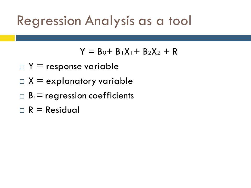 Regression Analysis as a tool Y = B 0 + B 1 X 1 + B 2 X 2 + R  Y = response variable  X = explanatory variable  B i = regression coefficients  R = Residual
