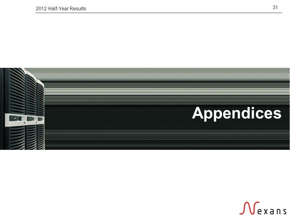 2012 Half-Year Results 31 Appendices