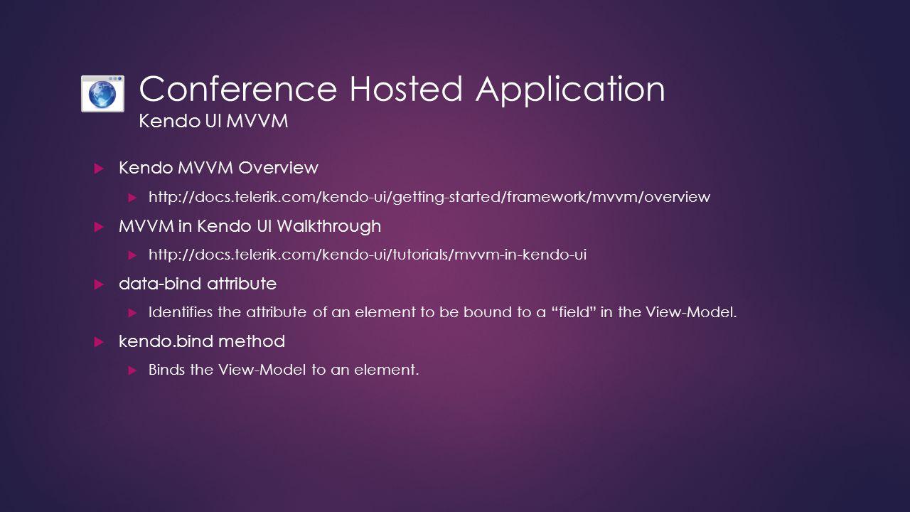 Conference Hosted Application Kendo UI MVVM  Kendo MVVM Overview  http://docs.telerik.com/kendo-ui/getting-started/framework/mvvm/overview  MVVM in