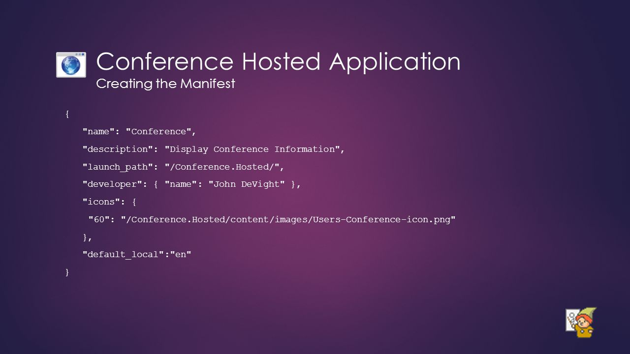 Conference Hosted Application Creating the Manifest {