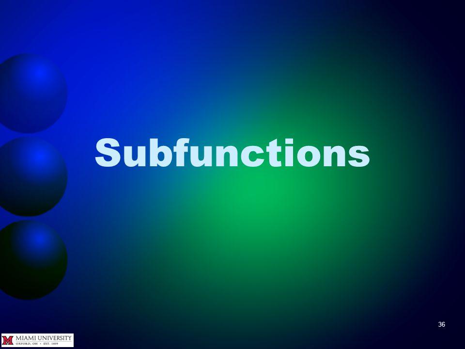 Subfunctions 36