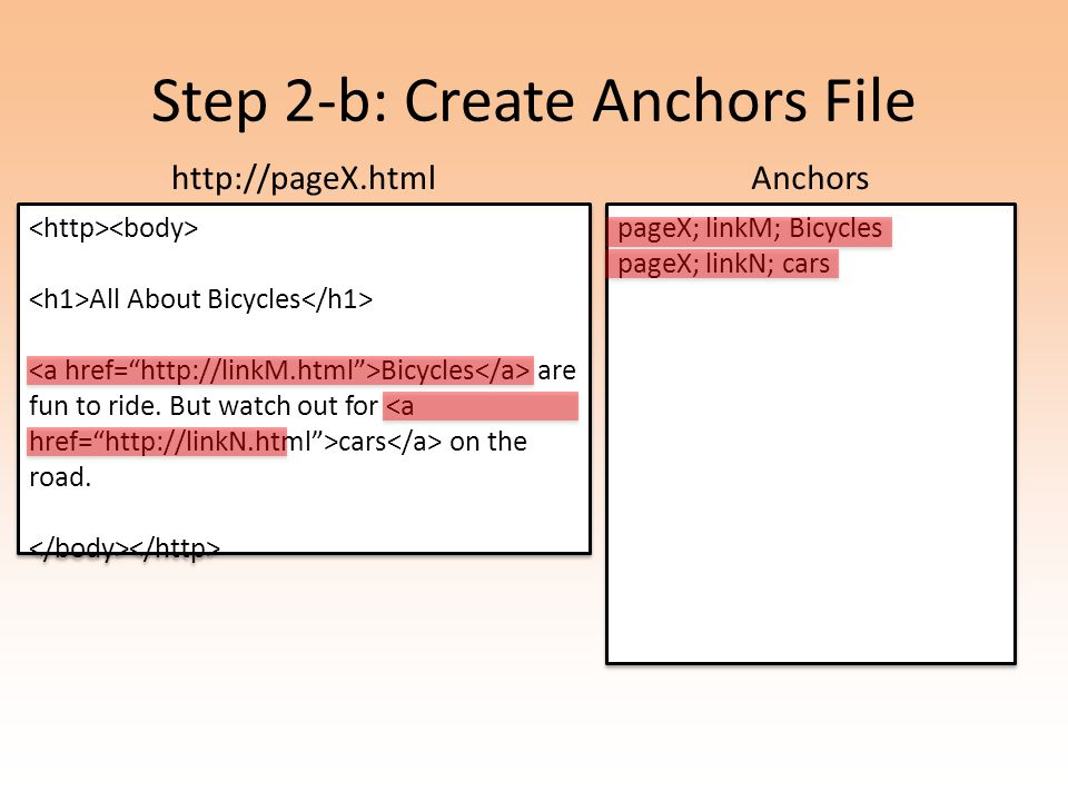 Step 2-b: Create Anchors File All About Bicycles Bicycles are fun to ride.