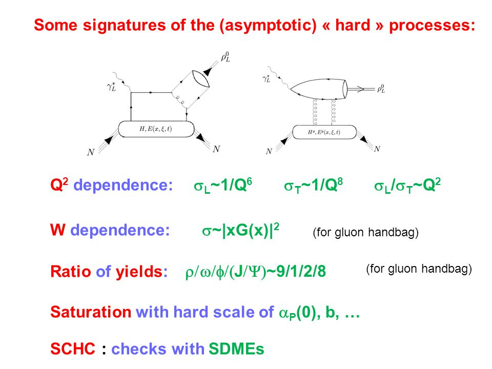 Some signatures of the (asymptotic) « hard » processes:  L /  T ~Q 2  J  ~9/1/2/8  L ~1/Q 6  T ~1/Q 8  ~|xG(x)| 2 Q 2 dependence: W dep