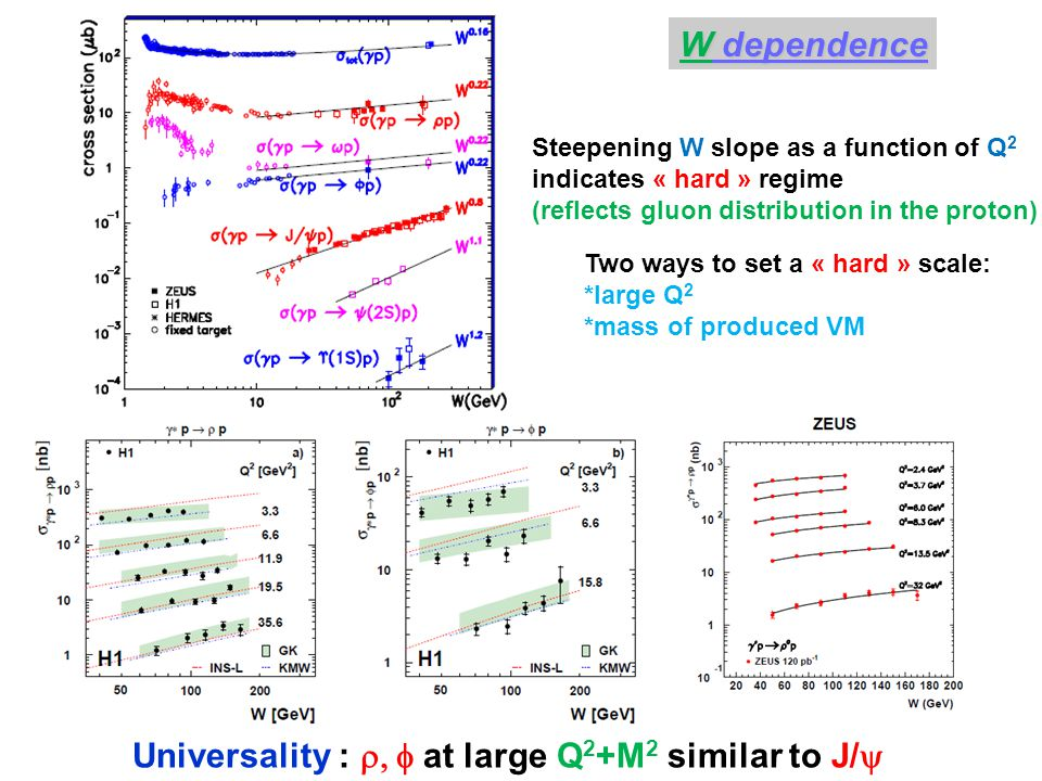Two ways to set a « hard » scale: *large Q 2 *mass of produced VM W dependence Steepening W slope as a function of Q 2 indicates « hard » regime (reflects gluon distribution in the proton) Universality :  at large Q 2 +M 2 similar to J/ 