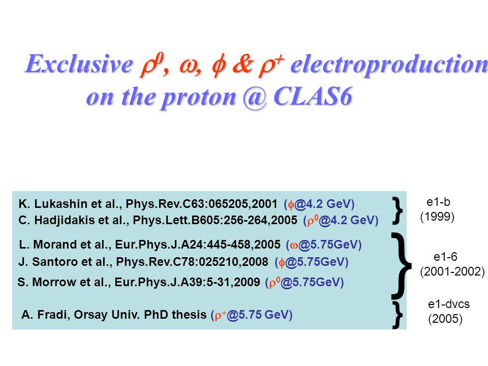 Exclusive  0,   electroproduction on the proton @ CLAS6 on the proton @ CLAS6 S. Morrow et al., Eur.Phys.J.A39:5-31,2009 (  0 @5.75GeV) J.