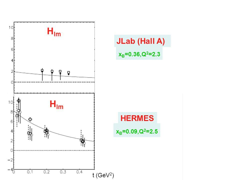 H Im H Re H Im H Re HERMES x B =0.09,Q 2 =2.5 JLab (Hall A) x B =0.36,Q 2 =2.3 t (GeV 2 )