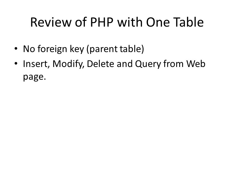 Review of PHP with One Table No foreign key (parent table) Insert, Modify, Delete and Query from Web page.
