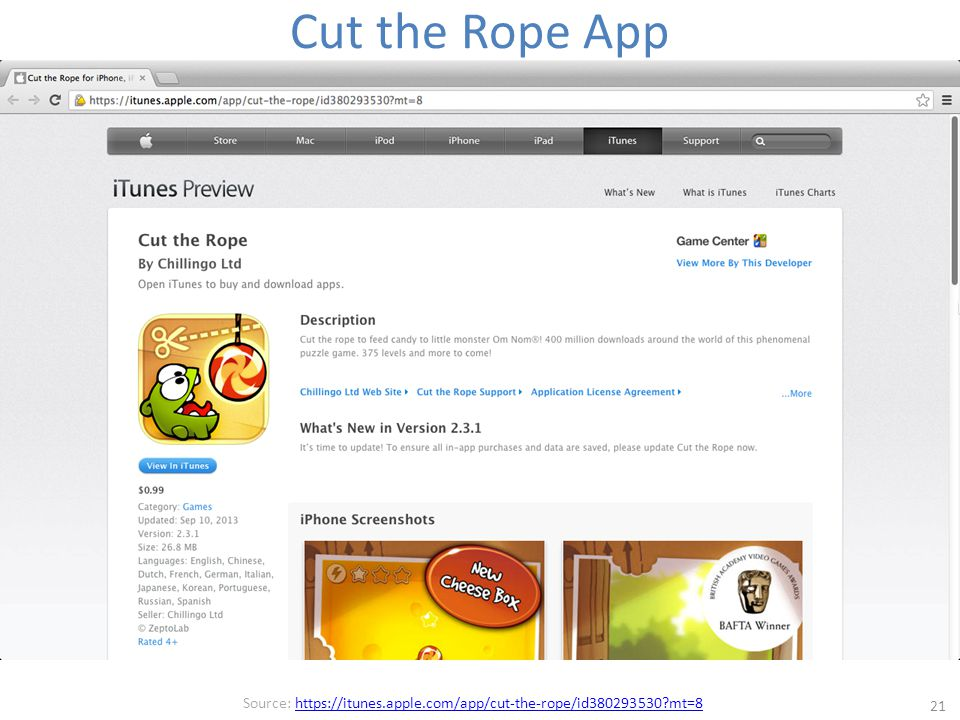 Cut the Rope App 21 Source: https://itunes.apple.com/app/cut-the-rope/id380293530 mt=8https://itunes.apple.com/app/cut-the-rope/id380293530 mt=8