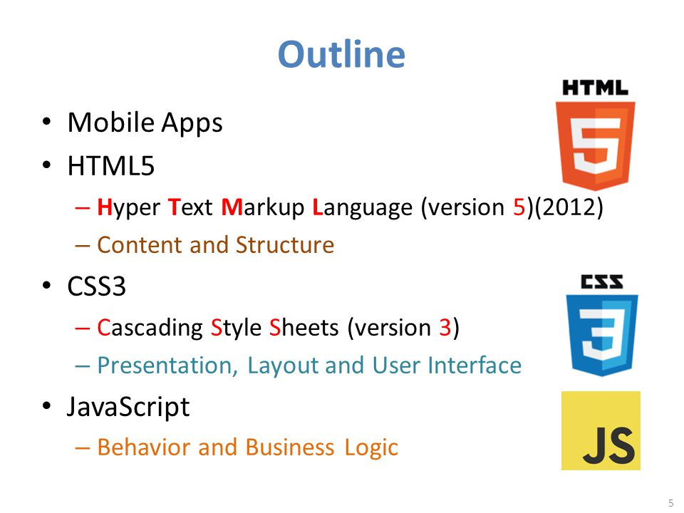 Outline Mobile Apps HTML5 – Hyper Text Markup Language (version 5)(2012) – Content and Structure CSS3 – Cascading Style Sheets (version 3) – Presentation, Layout and User Interface JavaScript – Behavior and Business Logic 5