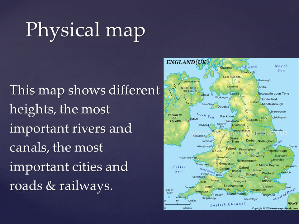 This map shows different heights, the most important rivers and canals, the most important cities and roads & railways.