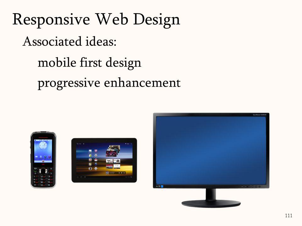 Associated ideas: mobile first design progressive enhancement Responsive Web Design 111