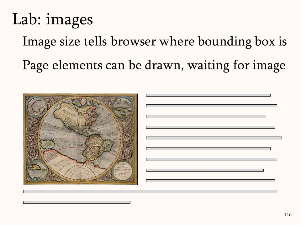 Lab: images 116 Image size tells browser where bounding box is Page elements can be drawn, waiting for image