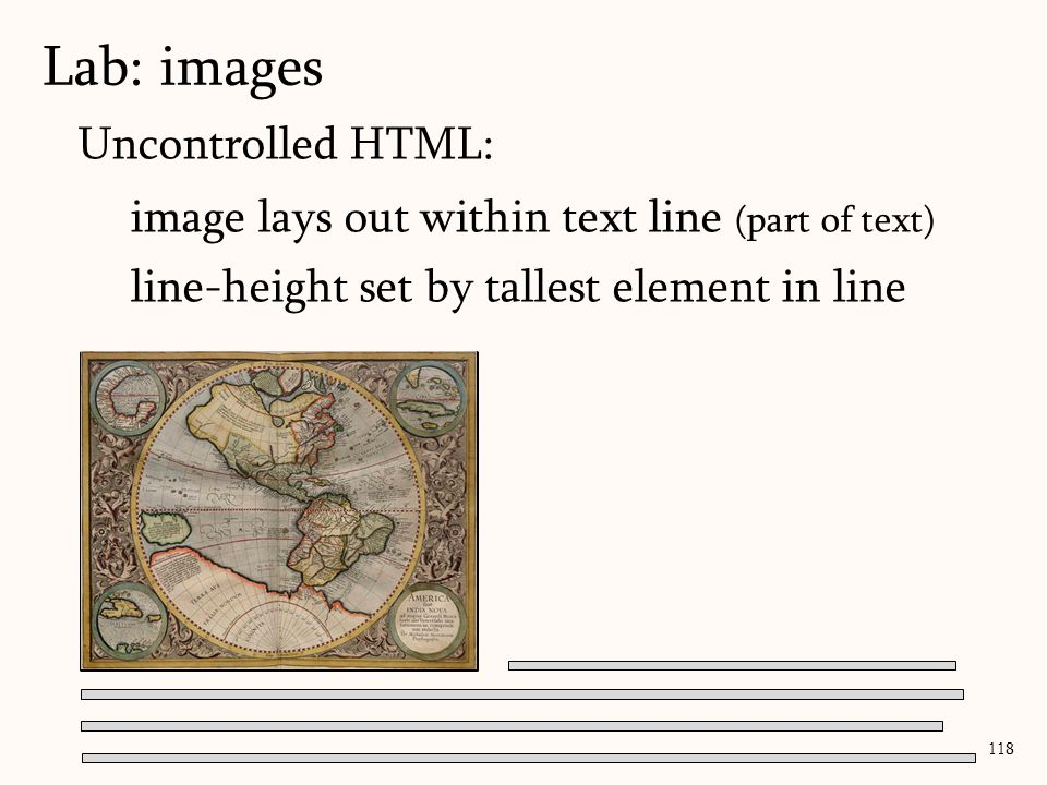 Lab: images 118 Uncontrolled HTML: image lays out within text line (part of text) line-height set by tallest element in line