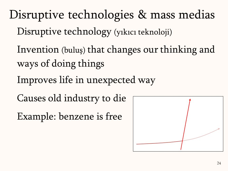 Disruptive technology (yıkıcı teknoloji) Invention (buluş) that changes our thinking and ways of doing things Improves life in unexpected way Causes old industry to die Example: benzene is free Disruptive technologies & mass medias 24