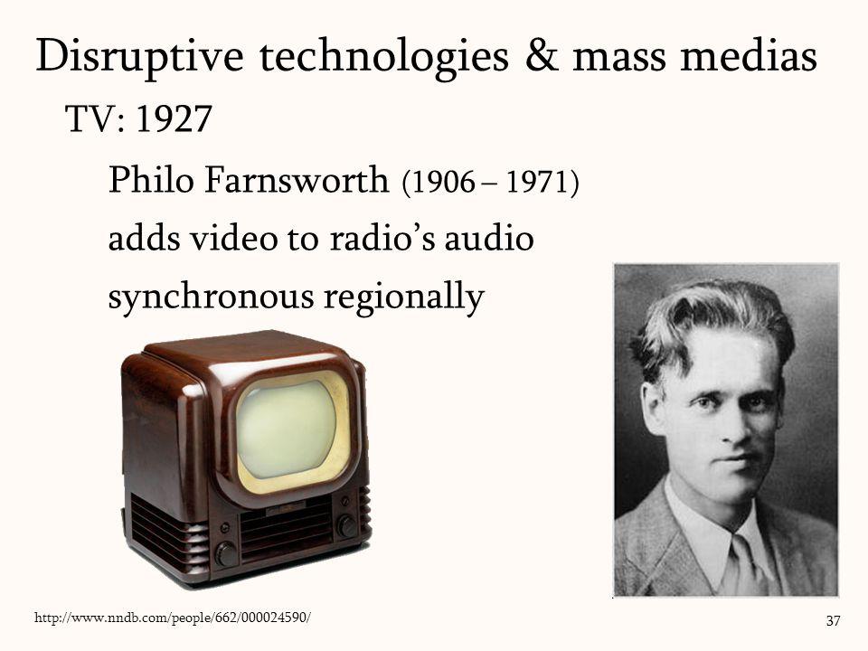 TV: 1927 Philo Farnsworth (1906 – 1971) adds video to radio's audio synchronous regionally 37 http://www.nndb.com/people/662/000024590/ Disruptive technologies & mass medias