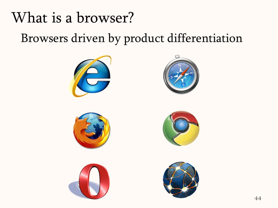 44 Browsers driven by product differentiation What is a browser