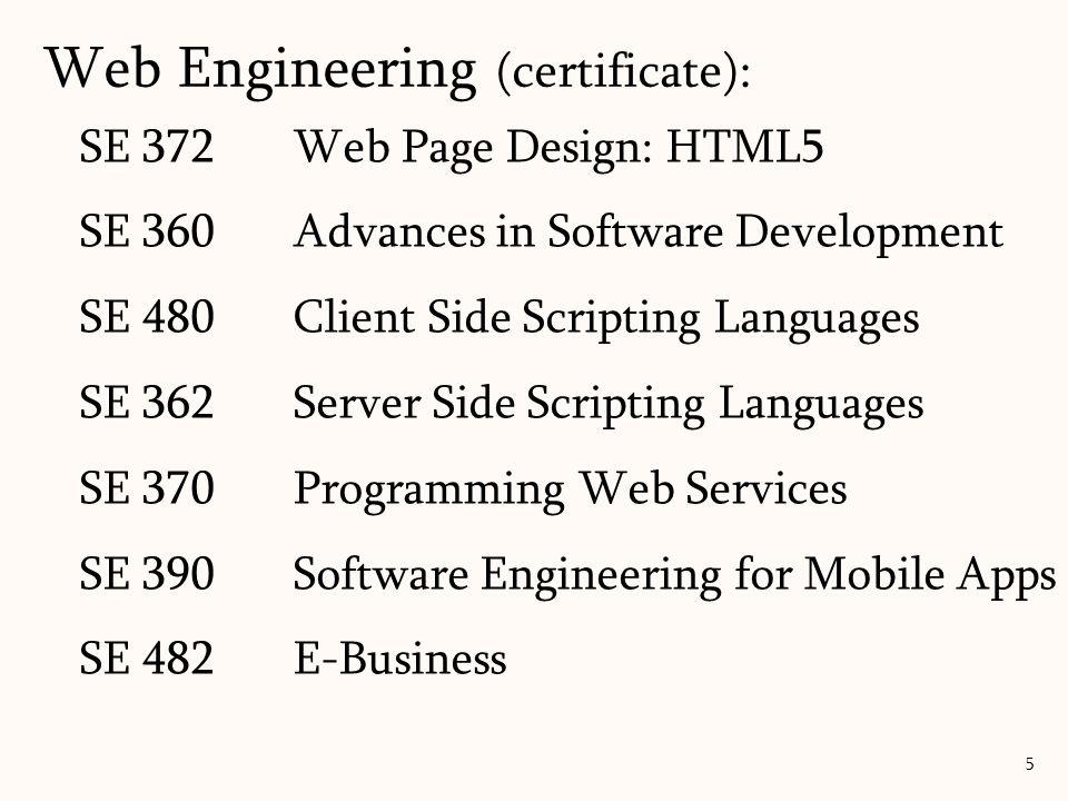 SE 372Web Page Design: HTML5 SE 360 Advances in Software Development SE 480Client Side Scripting Languages SE 362Server Side Scripting Languages SE 370Programming Web Services SE 390Software Engineering for Mobile Apps SE 482E-Business Web Engineering (certificate): 5
