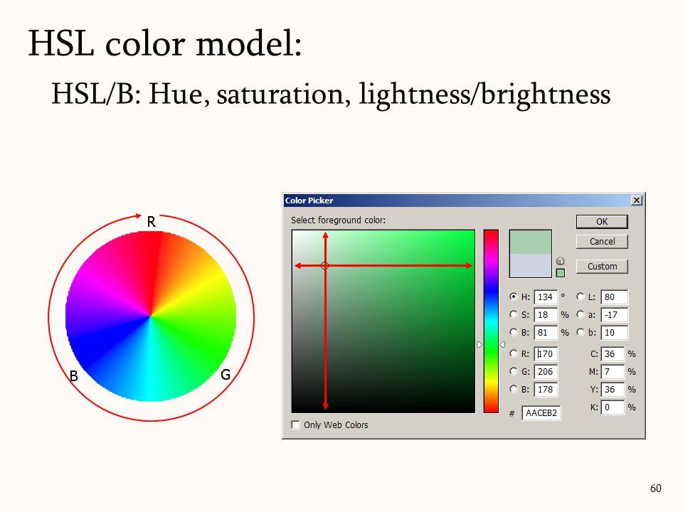 HSL/B: Hue, saturation, lightness/brightness HSL color model: 60