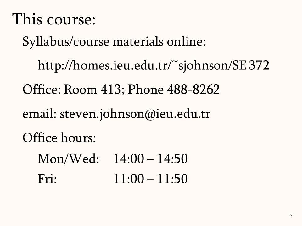 Syllabus/course materials online: http://homes.ieu.edu.tr/~sjohnson/SE 372 Office: Room 413; Phone 488-8262 email: steven.johnson@ieu.edu.tr Office hours: Mon/Wed: 14:00 – 14:50 Fri: 11:00 – 11:50 This course: 7