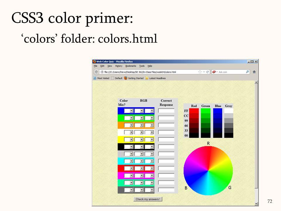 'colors' folder: colors.html CSS3 color primer: 72