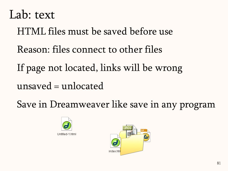 HTML files must be saved before use Reason: files connect to other files If page not located, links will be wrong unsaved = unlocated Save in Dreamweaver like save in any program Lab: text 81 Untitled-1.html index.html
