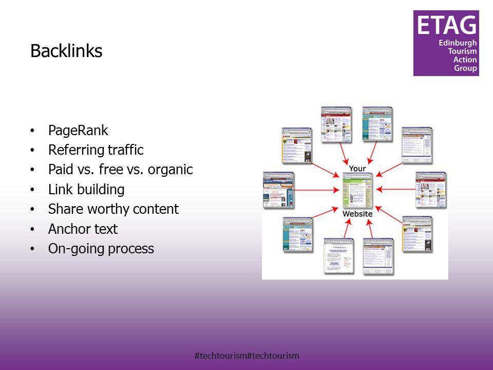 #techtourism#techtourism Backlinks PageRank Referring traffic Paid vs.