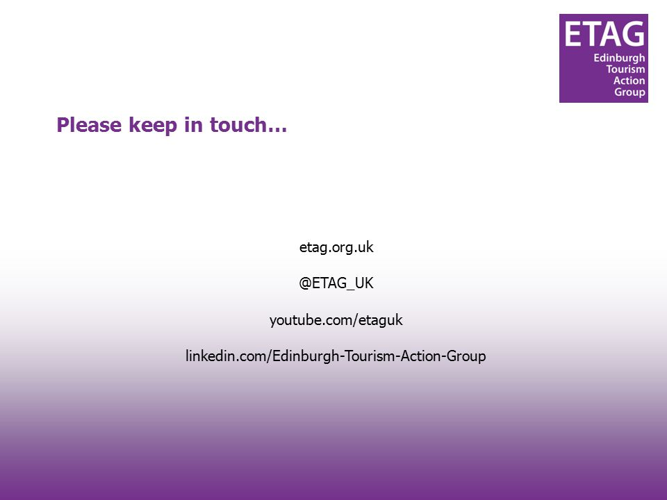 #techtourism#techtourism etag.org.uk @ETAG_UK youtube.com/etaguk linkedin.com/Edinburgh-Tourism-Action-Group Please keep in touch…