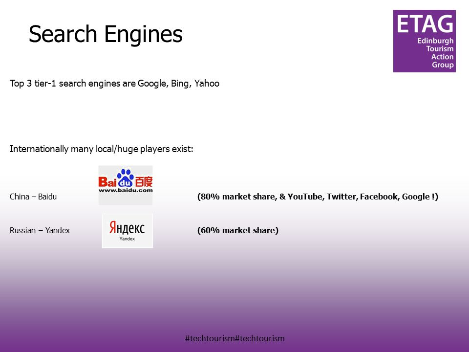 #techtourism#techtourism Search Engines Top 3 tier-1 search engines are Google, Bing, Yahoo Internationally many local/huge players exist: China – Baidu(80% market share, & YouTube, Twitter, Facebook, Google !) Russian – Yandex(60% market share)